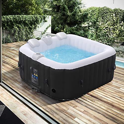 Arebos Whirlpool | aufblasbar | In- & Outdoor | 4 Personen | 100 Massagedüsen | mit Heizung | 600 Liter | Inkl. Abdeckung | Bubble Spa & Wellness Massage