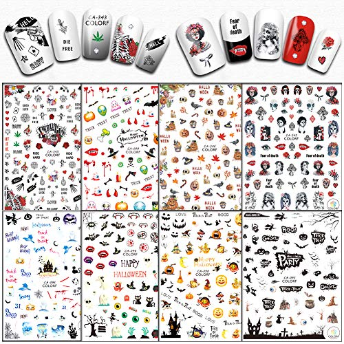 8 Sheets Halloween Nail Stickers 3D Nail Art Decals Self-Adhesive Skull Witch Pumpkin Cat Ghost Eye Bat Nail Design Stickers for Women Girls Halloween Party Favors Manicure Tips Decorations