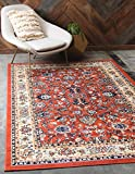 Unique Loom Kashan Collection Traditional Floral Overall Pattern with Border Terracotta Area Rug (6' 0 x 9' 0)