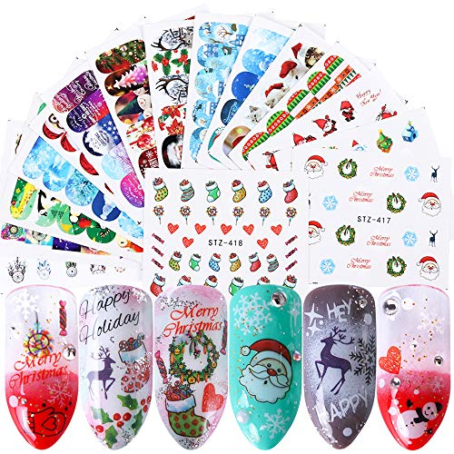 Macute Christmas Nail Art Stickers Mixed Santa Claus Snowman Flake Deer Sock Sugar Heart Design Xmas Nail Decals Winter Water Slider Nail Art Full Cover Wraps Set for Women Girls Nails Decorations
