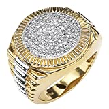 Palm Beach Jewelry Men's 18K Yellow Gold Over Sterling Silver Round Genuine Diamond Pave Two Tone...