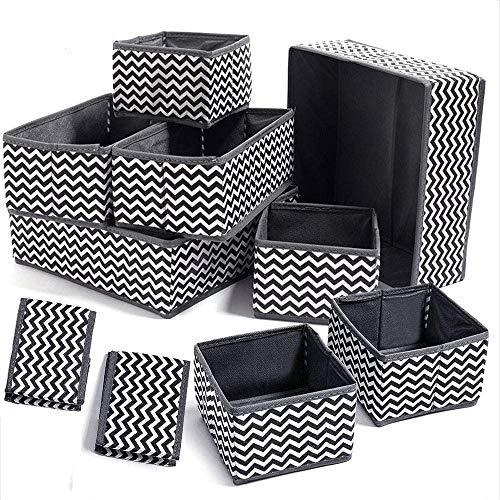 Evance Set di 10 Cassetto Organizer Armadio Divisori Scatole per Armadio Pieghevole Contenitori Armadio per Cassetti Biancheria Intima, Reggiseni, Calze (10PCS)