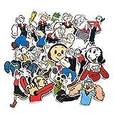 18 pegatinas para maletas de Popeye, diseño de dibujos animados, impermeables, resistentes al agua