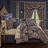 Five Queens Court Woodstock Woven Jacquard Luxury Damask 4 Piece Comforter Set, Indigo, Queen 92X96