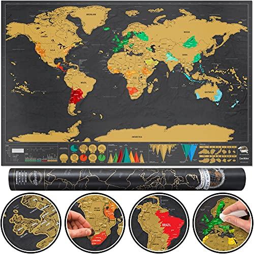 Carte du Monde à Gratter Deluxe, Mappemonde à Gratter Luxe, Carte de...