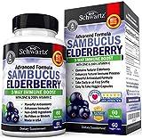 Sambucus Elderberry Capsules with Zinc & Vitamin C - Women & Men's Daily Herbal Supplement for Immune Support, Skin Health - Powerful Antioxidant - Natural Elderberries - 60 Day Supply - Veggie Caps