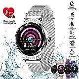 AOCKS H2 Smart Watch Blood Pressure Heart Rate Monitor Sport Waterproof Bracelet New Fitness Tracker (Silver)