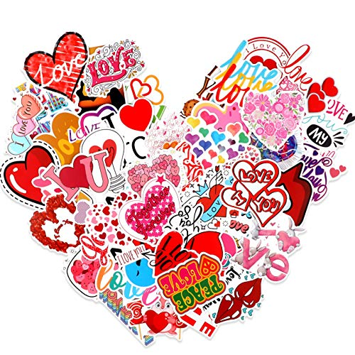 HOWAF Valentine's Day Stickers 50pcs Cardstock Stickers Love Heart Decorative Gifts for Girls Vinyl Stickers for Personalize Laptop Scrapbook Daily Planner and Crafts