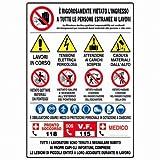 Panneaux d'informations pour chantier, 21 symboles sur plastique corrugué.