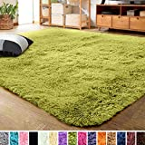 LOCHAS Ultra Soft Indoor Modern Area Rugs Fluffy Living Room Carpets for Children Bedroom Home Decor Nursery Rug 4x5.3 Feet, Green
