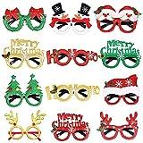 Achort Lunettes de noël, 12pcs Lunettes de fête De Noël pour Costume De Noël Fournitures Creative Fournitures De Fête De Noël pour Enfants, Femmes, Hommes