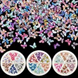 PAGOW 90pcs 3D Acrylic Butterfly Charms for Nails, 18 Colors Butterfly Nail Glitter Sets, Novel Design Acrylic Butterfly Nail Charms for Nail Art Decoration & DIY Crafting Design