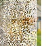 rabbitgoo Window Film Privacy, 3D Decorative Window Glass Film, Stained Glass Window Decals, Rainbow Door Window Covering, Removable Window Sticker, Static Cling Anti-UV Self-Adhesive 17.5 x 78.7 inch
