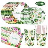 DreamJing 93pcs Flamingo Vert Set Vaisselle De Table - Comprend Assiette...