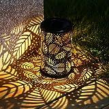Lanterne Solaire de Jardin Lumière Solaire Extérieure LED Lanterne Solaire Sculptée en Métal Creux Suspendu Imperméable Décoratif pour La Fête, Cour,...