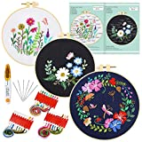 Caydo 3 Sets Embroidery Starter Kit with Pattern and Instructions, Cross Stitch Kit Include 3 Embroidery Clothes with Floral Pattern, 3 Plastic Embroidery Hoops, Color Threads and Tools