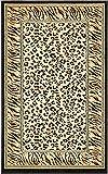 Unique Loom 3137188 Cheetah Border Animal Print Area Rug, 3 Feet 3 Inch x 5 Feet 3 Inch, Ivory/Black