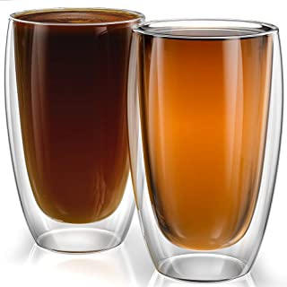 Stone & Mill Large Double Wall Drinking Glasses Set of 2-15 Ounce – Insulated..