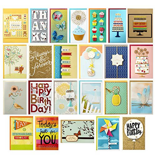 Hallmark All Occasion Handmade Boxed Set of Assorted Greeting Cards with Card Organizer (Pack of 24)Birthday, Baby, Wedding, Sympathy, Thinking of You, Thank You, Blank