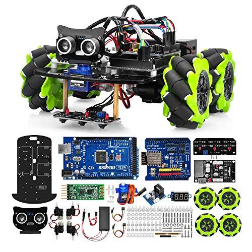 OSOYOO Mecanum Wheels Robot Car Kit for Arduino Mega2560|Omni Wheels Robotic | STEM Remote Controlled Educational | Mechanical DIY Coding for Kids Teens Adults