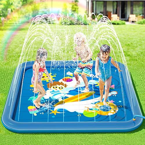 Peradix Tappetino Gioco d'Acqua per Bambini,Splash Play Mat Spruzzi all'Aperto Giochi d'Acqua...
