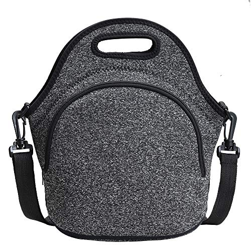 Neoprene Lunch Tote ,Insulated Lunch Bags with Shoulder Strap Small Lunch Box Handbags Tote with Extra Pocket Lunch Tote for Adults Women Men Teen Boys Kids Office/Work/Picnic/Travel
