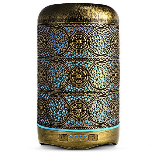 Salking | Aroma diffuser | 260 ml | Metaal | Geurlamp | Luchtbevochtiger | Verlichting in 7 kleuren | Vintage afwerking