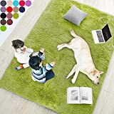 Grass Green Soft Rug for Bedroom,4'X6',Fluffy Area Rug for Living Room,Furry Carpet for Kids Room,Shaggy Throw Rug for Nursery Room,Fuzzy Plush Rug,Green Carpet,Rectangle,Cute Room Decor for Baby