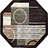 Americana Modern Octagon Area Rug Brown with Green Design 1497 (5 Feet 3 Inch X 5 Feet 3 Inch)