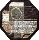 Americana Modern Octagon Area Rug Brown with Green Design 1497 (5 Feet 3 Inch X 5 Feet 3 Inch)