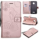 ARSUE Moto Z Force Droid Case,Moto Z Force Wallet Case,Leather Folio Flip PU Card Holder Slots with Kickstand Phone Protective Case Cover for Motorola Moto Z Force Droid 2016,Butterfly Rose Gold