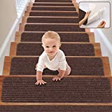 RIOLAND Stair Treads Carpet Non-Slip Indoor Stair Runners for Wooden Steps, Stair Rugs for Kids and Dogs, Set of 15, 8' X 30', Brown