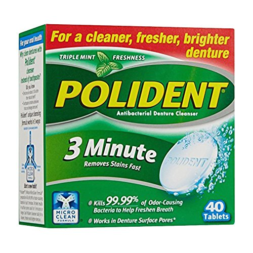 Polident 3 Minute Denture Cleanser Tablets, 40 ea (Pack of 2)