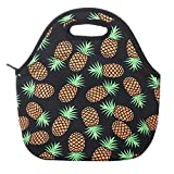 Aiphamy Pineapple Neoprene Lunch Bag Insulated Lunch Box Tote for Women Men Adult Kids Teens Boys Teenage Girls Toddlers (Black)