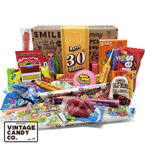 VINTAGE CANDY CO. 30TH BIRTHDAY RETRO CANDY GIFT BOX - 1990 Decade Childhood Nostalgic Candies - Fun Funny Gag Gift Basket - Milestone 30 THIRTIETH Birthday - PERFECT For Man Or Woman Turning THIRTY
