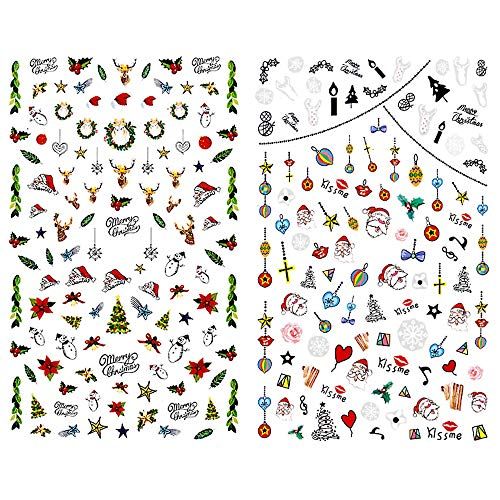25 pcs Christmas Theme Nail Stickers Nail Art Decoration Pattern Snow Flake Bell Deer Christmas Tree Sock Hat Star Decals