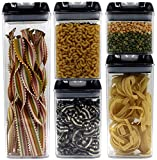 HOME + HEART Airtight Food Storage Container 5 Piece Set With Durable Air Tight Lids - Reinforced Locking Handles - Stackable Canister Sets for Pasta, Grains, Snacks, Sweets & Baking Supplies