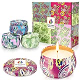Onlywax Pack of 4 x 125 Grams Scented Candles, Soy Wax Aromatherapy Candle Gift Set, Rose, Lavender, Vanilla, Lemongrass