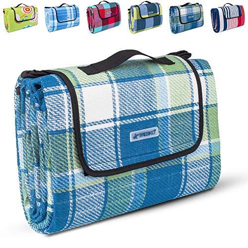 TRESKO XXL 195 x 150 cm Picknickdecke Acryl Wasserdicht | Campingdecke für Outdoor mit Tragegriff | Wärmeisoliert & Weich PNDKE21