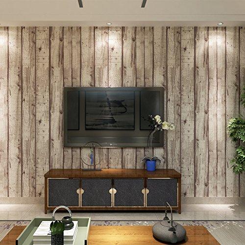 Papier Peint Vinyle Motif de Bois Naturel pour Chambre Salon TV Fond-0.53m*10m-2 Couleurs au Choix