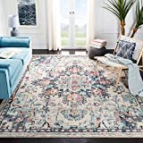 Safavieh Madison Collection MAD473B Boho Chic Vintage Distressed Medallion Area Rug, 8' x 10', Cream/Blue