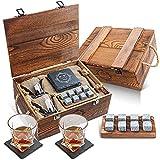Baban Classique Verre à Whisky Set, Le Meilleur Choix pour Les Cadeaux - avec 2X Verres à Whisky, 8X Pierre à Wisky, 2X Coaster en Rocheux, Palettes en Bois,...