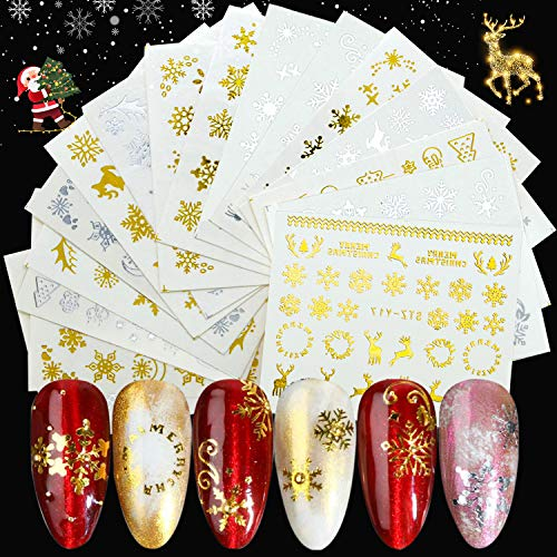 JOYJULY 16 Sheets Christmas Nail Art Stickers Decals, Gold & Silver Christmas Nail Art Water Transfer Stickers Snowflake Christmas Tree Elk Art Design Nail Decorations