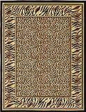 Unique Loom 3125108 Cheetah Border Animal Print Area Rug, 9 x 12 Feet, Ivory/Black