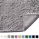 H.VERSAILTEX Bath Rugs for Bathroom Slip-Resistant Shag Chenille Bath Rugs Mat Extra Soft and Absorbent Bath Rug for Shower Room Machine-Washable Fast Dry (Grey, 17' x 24')