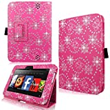 Cellularvilla Case for Amazon Kindle Fire HD 7' Inch 2012 Pu Leather Pink Glitter Flip Folio Stand Case Cover