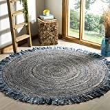 Safavieh Cape Cod Collection CAP206D Hand-woven Jute Area Rug, 4' Round, Ivory/Denim