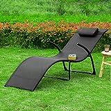 Sonnenliege klappbar Gartenliege Relaxstuhl Liegestuhl mit Kopfkissen Klappliege - 6