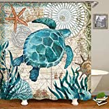 Uphome Sea Turtle Fabric Shower Curtain, Nautical Blue Map Shower Curtain Navigation Under The Sea...