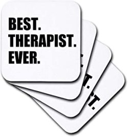 3dRose Best Therapist Ever, Fun Gift for Shrinks and Therapy Jobs, Black Text - Soft Coasters, Set of 8 (CST_185021_2)